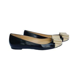 TALBOTS Black & Beige Leather Flats with Bow Toe 9